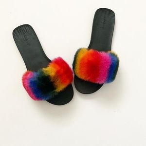 Bamboo rainbow fur slide sandals